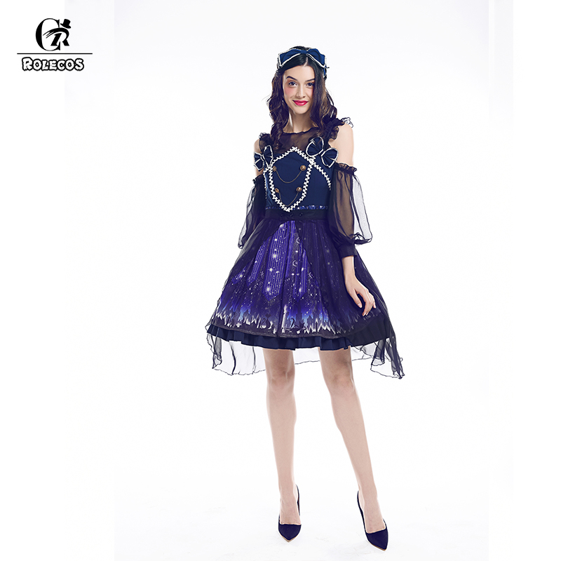 ROLECOS 2018 New Arrival Women Gothic Lolita Dresses Starry Sky Floral Print Dress Long Sleeve Sweet Lolita Princess Dress