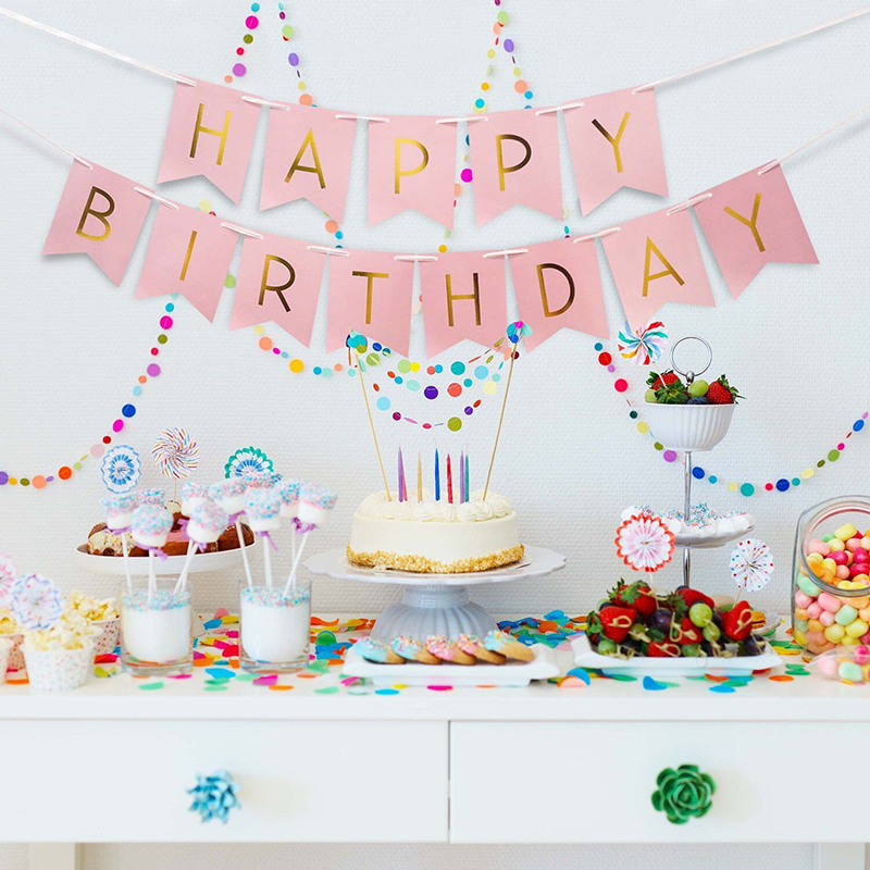 Glitter paper happy birthday bunting banner letter hanging for Baby decoration stores