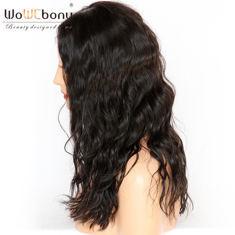 WoWEbony 100% Human Hair Loose Wave Indian Remy Hair Bob Wave Style Glueless Full Lace Wigs Middle Part