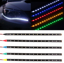 1Pcs/Lot, 30cm 15 LED Daytime Running lights DC12V 3528 Waterproof Auto Car DRL Driving Fog Lamp LED Strip Light for Automobile