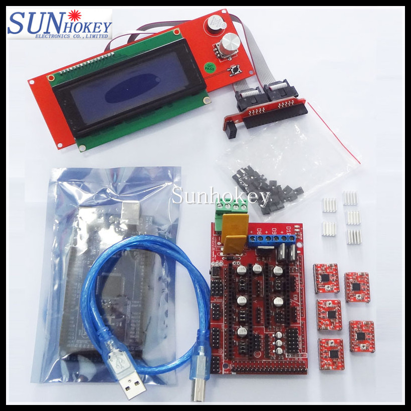 Wholesale!! Mega 2560 R3 +Ramps1.4 kit  RAMPS 1.4 Controller + A4988 Stepper Driver Module /2004 LCD control for 3D Printer