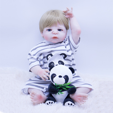 bebe reborn doll 55cm high quality silicone reborn baby boy dolls with Panda plush toy for girls ro boy Christmas gifts play toy