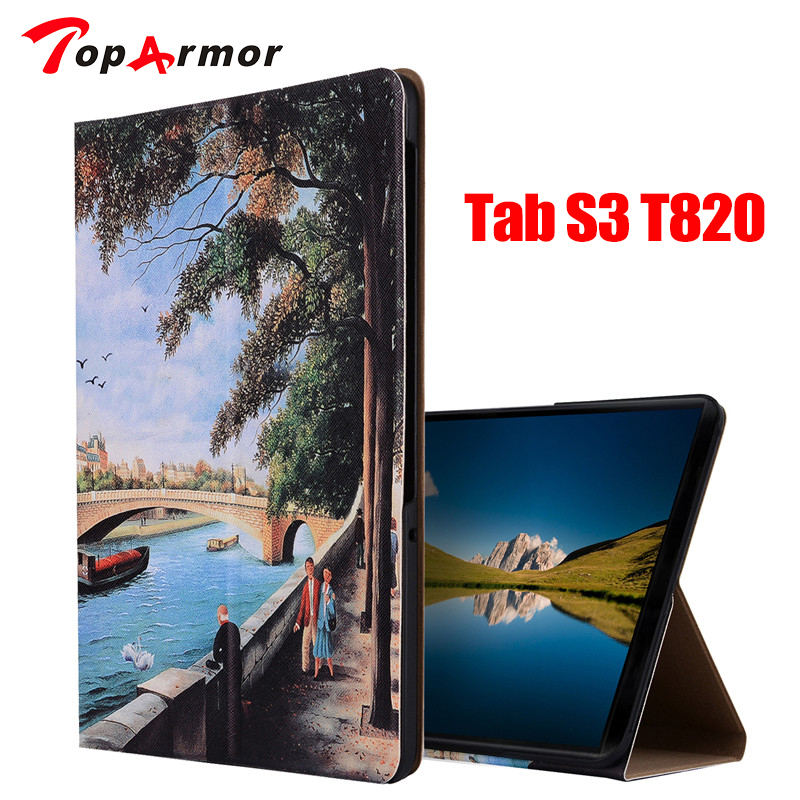 TopArmor Fashion Art Print Smart Case For Samsung Galaxy Tab S3 9.7 Leather Stand PU case for Tab S3 T820 T825 Protective Cover new luxury pu leather case for samsung galaxy tab s3 9 7 t820 t825 flip stand cover tablet case for samsung galaxy tab s3 t820