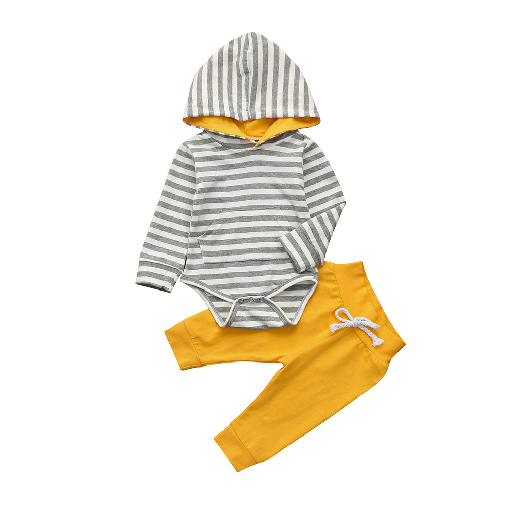 2pcs Toddler Newborn Baby Boy Girl Clothes Stripe Hoodie Bodysuit + Yellow Pants Outfits Set Long Sleeve Hooded Bodysuits Cool hooded graphic print long sleeve hoodie