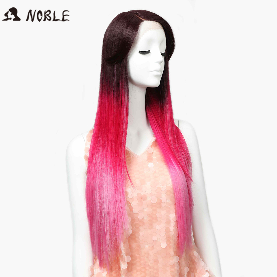 Noble Wigs Straight New Lace Front Wig Synthetic Hair 30 Ombre Pink Color Heat Resistant Cosplay Wig Free Shipping