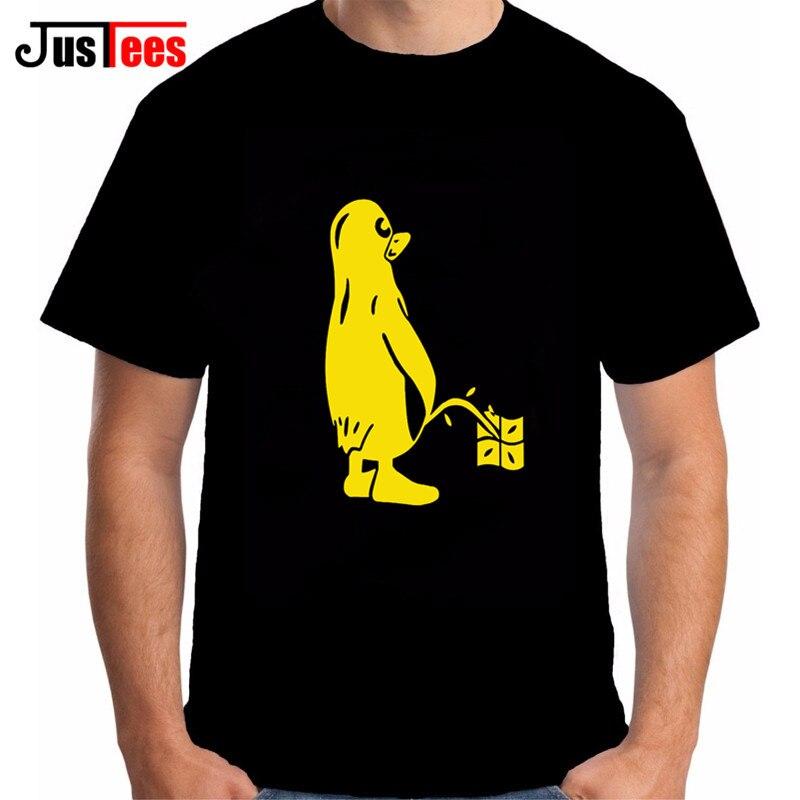 PENGUIN LINUX UBUNTU OZF T Shirt Men 100% Cotton Short Sleeve O Neck Tshirt New Design High Quality Graphic Inkjet Printing Tees
