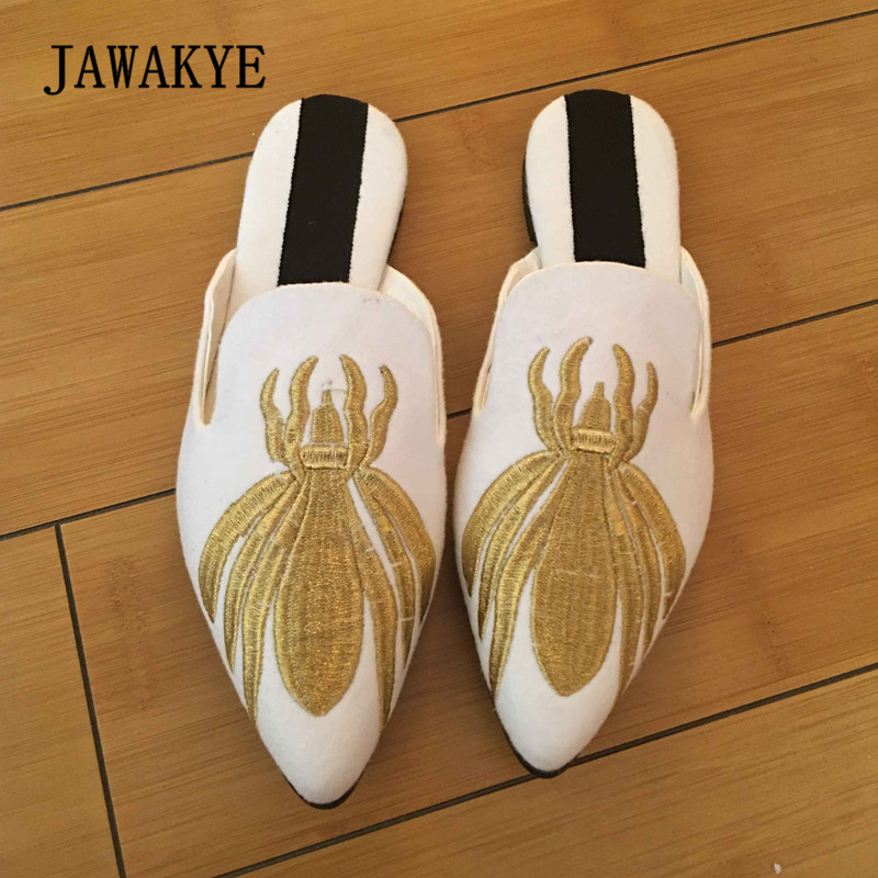 2018 Gold Bee Embroidery Velvet Slipper Women Pointed Toe Fashion Flat Shoes Woman Gladiator Sandals