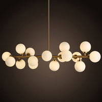Modern Gold 16 Heads Glass Chandelier Glass ball Suspension Lamp B Retro Lindsey For living room Bar Hotel Home lighting E034