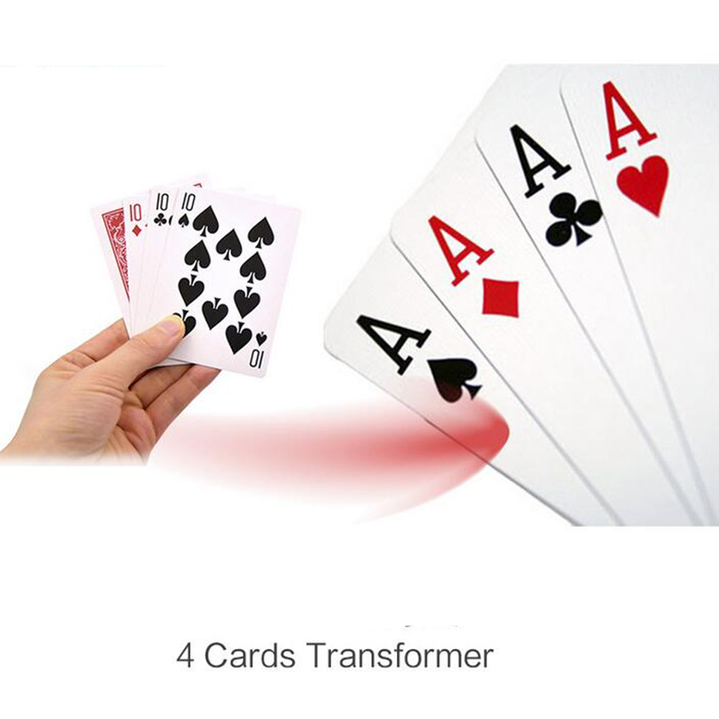 4 Cards Transformer Magic Tricks 10 To A Card Magic Props 10 Change A Magic Sets Close Up Street Card Props