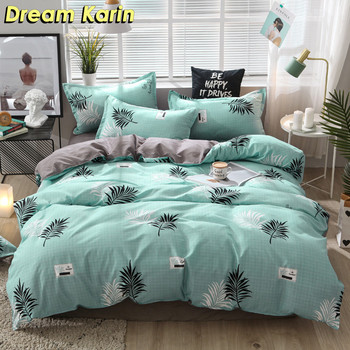 Nordic Brief Bedding Set Bed Linen Leaf Pattern Duvet Cover Sets Quilt Cover Single Double Queen King Bedclothes with Bed Sheet 100%cotton adult kids bedding set fashion casual bedding sets bed linen quilt duvet cover bed sheet for king queen twin bed