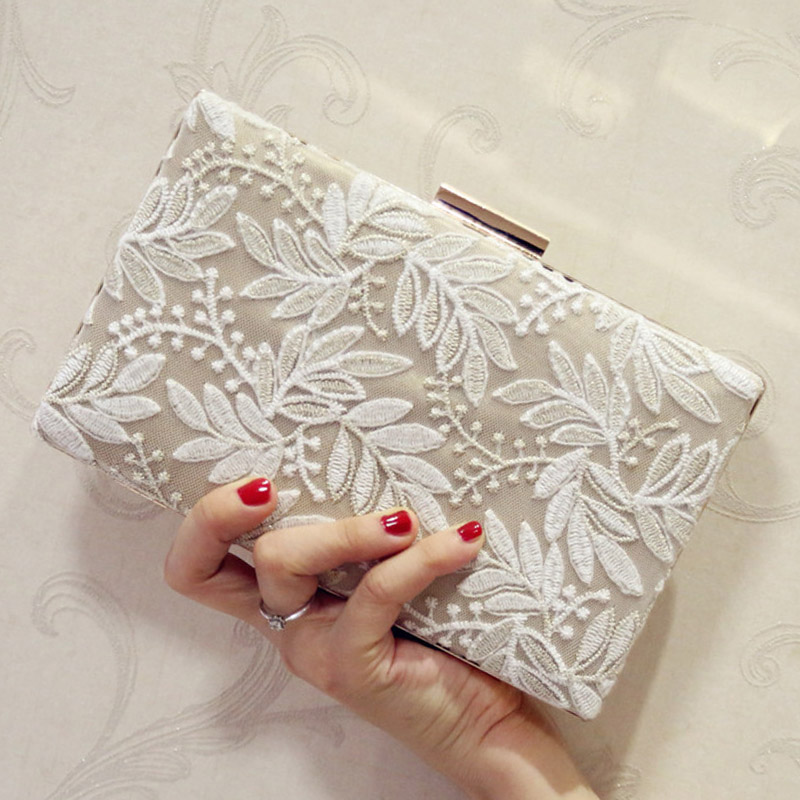 2018 Embroidered Leaves Women Evening Clutch Bags Female Luxury Wedding Day Clutch Wallet Wedding Purse Party Banquet Hand Bags
