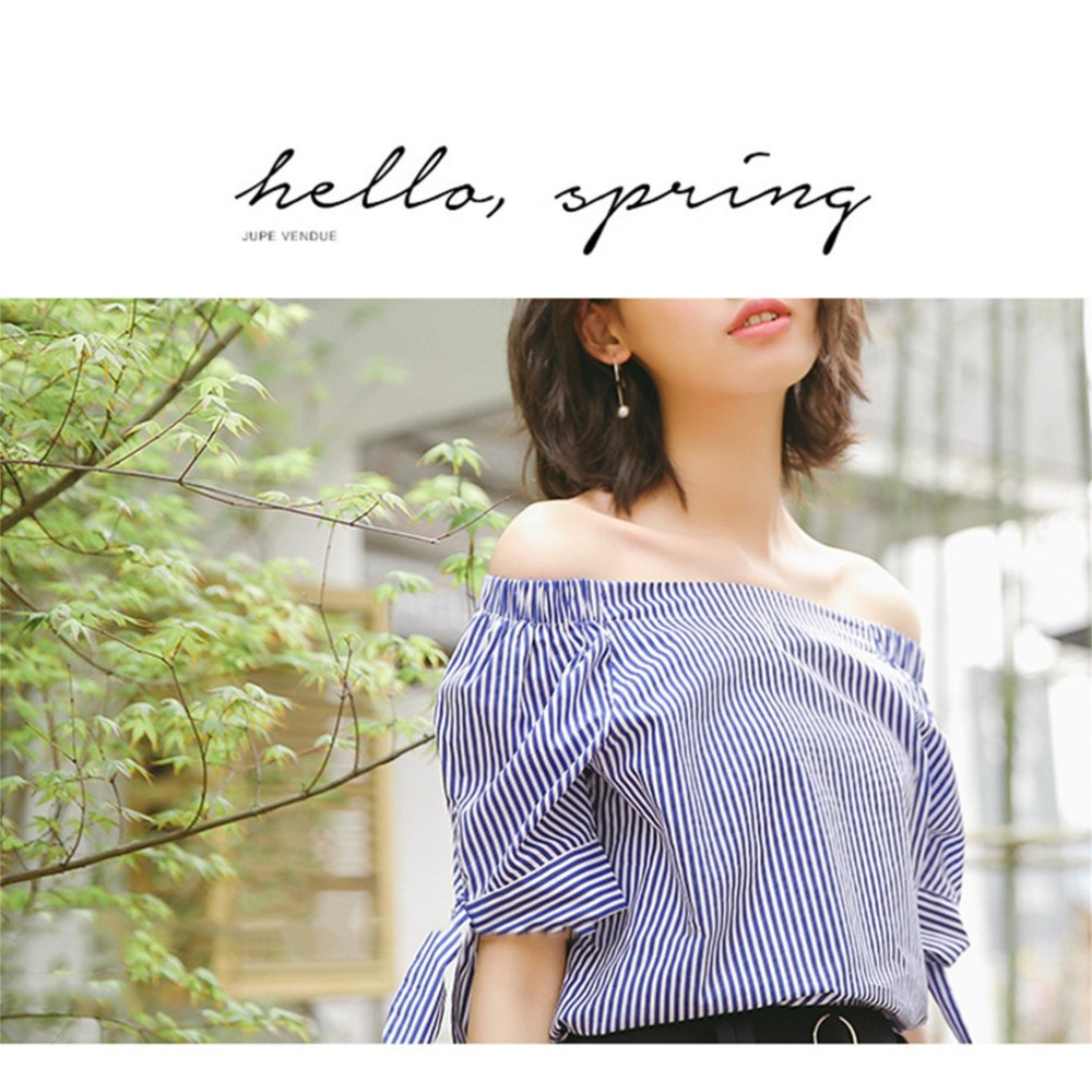 Relaxed Collocation Generous Unique Word Collar Design Strapless Loose Cuff Butterfly Thin Striped Short Sleeved Shirt 2017 New