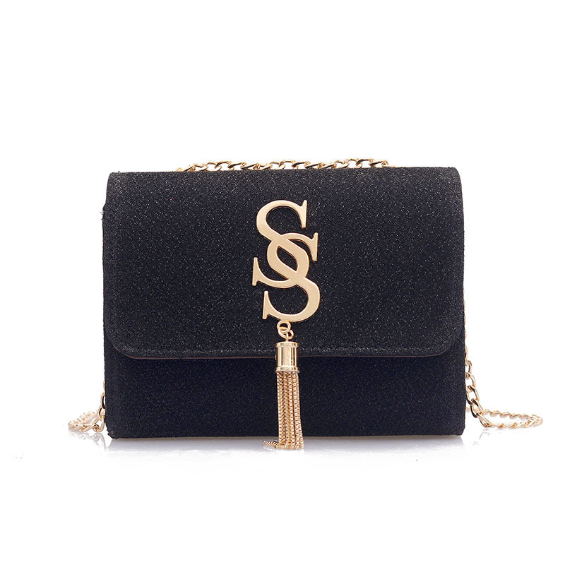 Sequined Leather Tassel Flap Bags Women Satin Shoulder Bag Shinning Party Clutch with Chain Mini Crossbody Bags Fashion Famous S