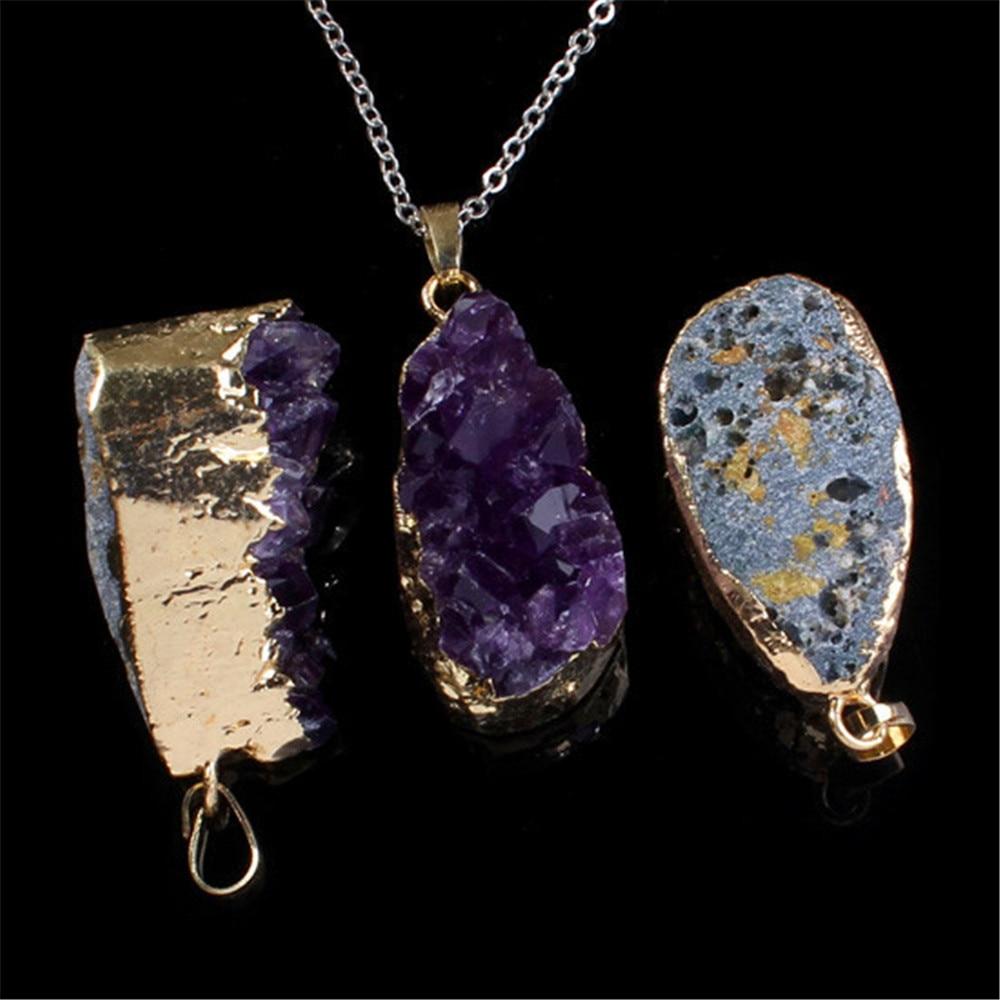 Naturlig lila Crystal Geode Quartz oregelbunden Crystal Druzy Cluster - Märkessmycken - Foto 3