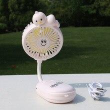 Free shipping cartoon Mini Folding Fan with Light Portable Handheld Charging Fan Student Dormitory Office Desktop Fan цена