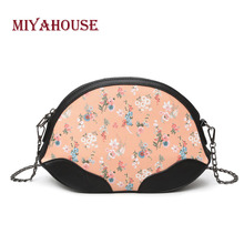 Miyahouse Candy Color Shoulder Bag With Chain For Women Floral Print Messenger Bag For Female PU Leather Crossbody Bag Lady