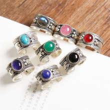 R033 старину старинные Открытые Кольца для леди тибетское Серебро инкрустированные несколькими бусинами кольца из Непала