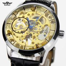 2016 El Mejor Reloj Para Hombre Caja de Acero Relojes Mecánicos GANADOR Banda de Cuero Casual de Negocios Masculino Del Relogio Esportivo