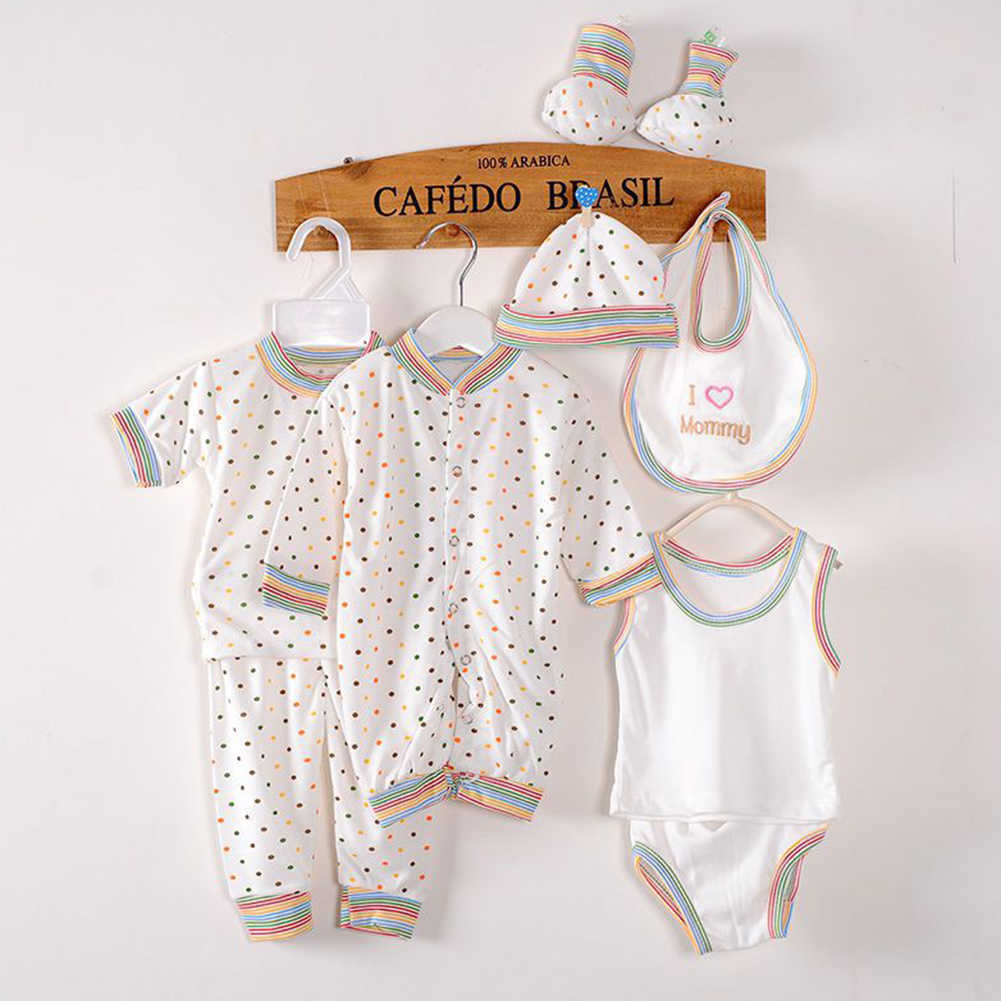 8Pcs/Set Newborn Baby Boy Girls Dots Print Vest Romper Pants Hat Socks Outfits