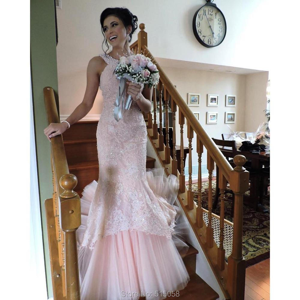 Pink Mint Green Lavender Lace Mermaid Wedding Dresses With Pearl ...