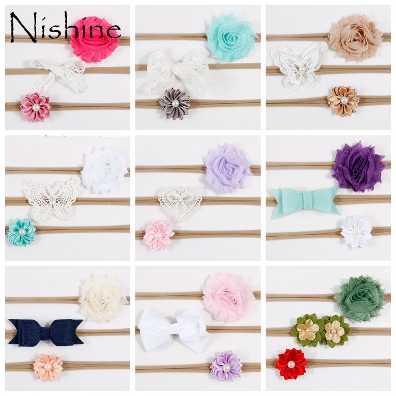 NISHINE 3 pçs/lote Newborn Headband Flor Skinny Headband Gasto Flor Laço de Fita de Nylon Macia Baby Girl Headband Presente de Natal