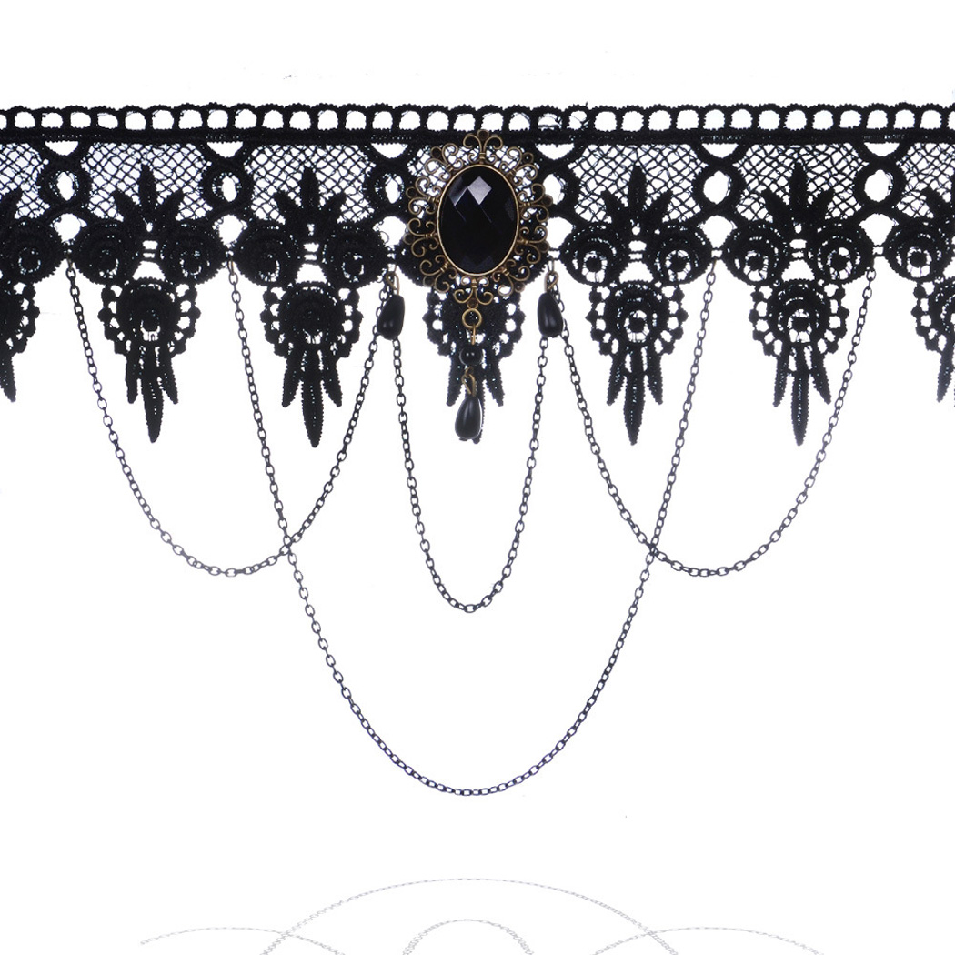 HTB1vMMOXAT2gK0jSZPcq6AKkpXa3 - Halloween Sexy Gothic Chokers Crystal Black Lace Neck Collares Choker Necklace Vintage Victorian Women Chocker Steampunk Jewelry