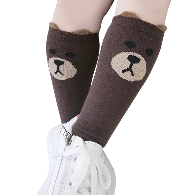 Kids Socks Baby Girls Knee High Socks Kids Children Cute Bear Princess leg Warmers Solid Cotton Girl Long Tube Socks