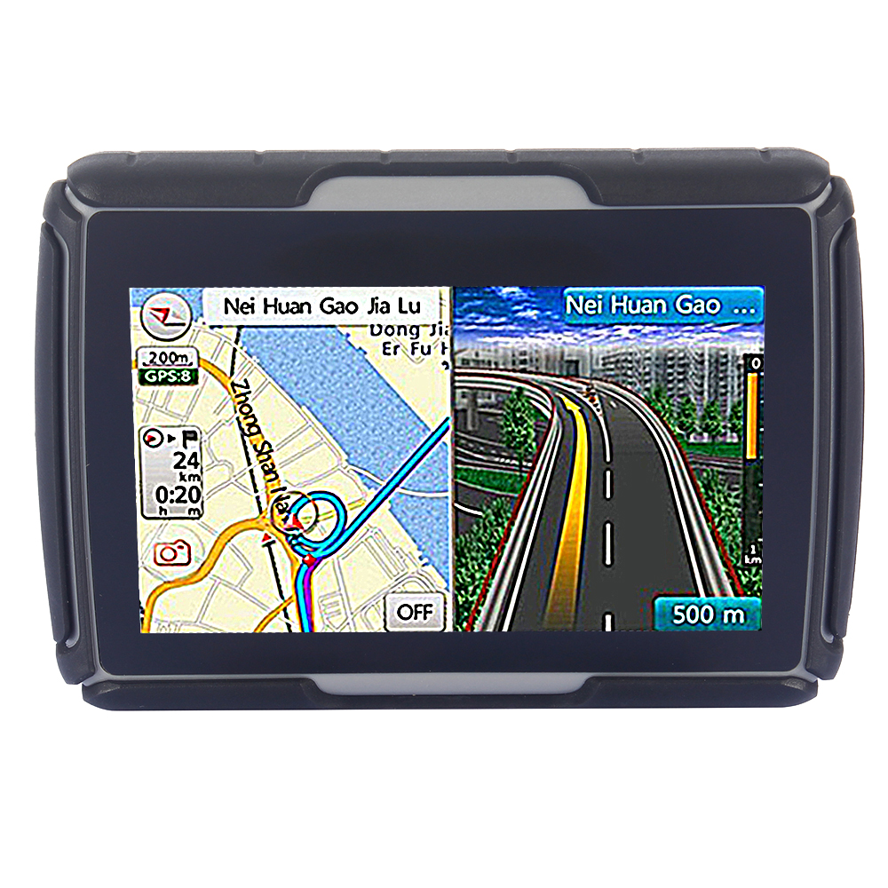 8GB and FM Color Black 4 3 Waterproof IPX7 Bluetooth GPS Navigator for Motorcycle 4GB Flash
