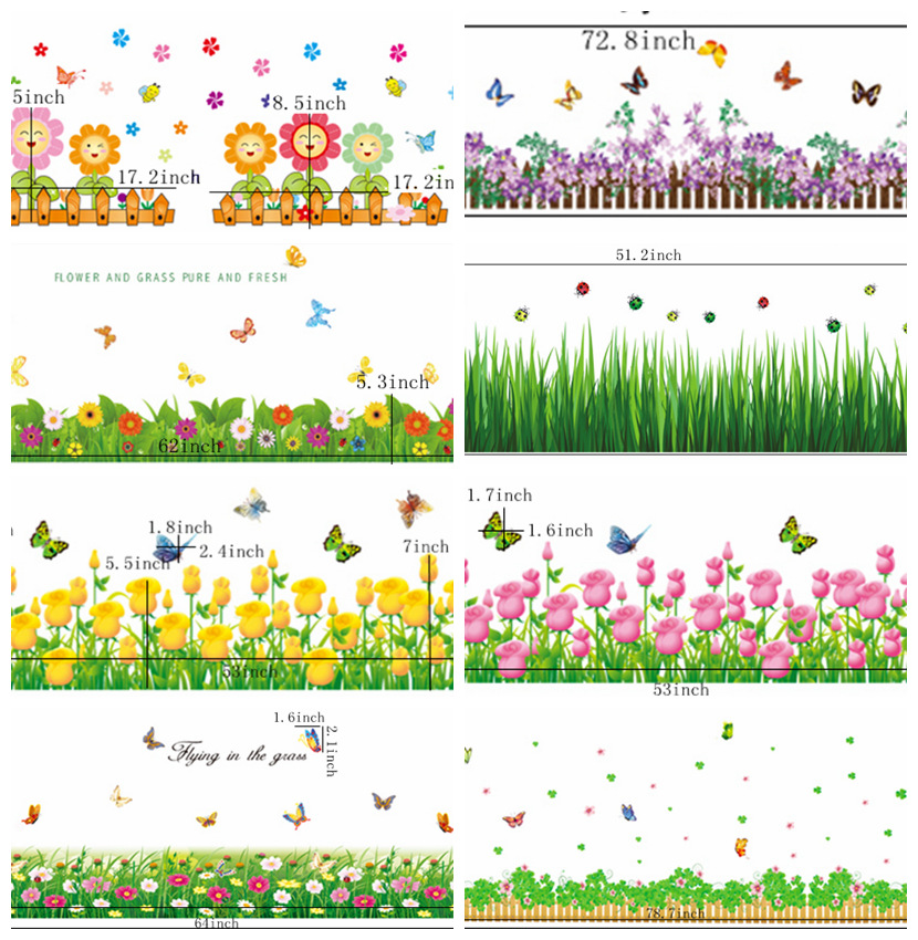 Zs Sticker Flowers Grass Corner Borders baseboard  line Wall Sticker natural home decor grass Home Decor wall decals