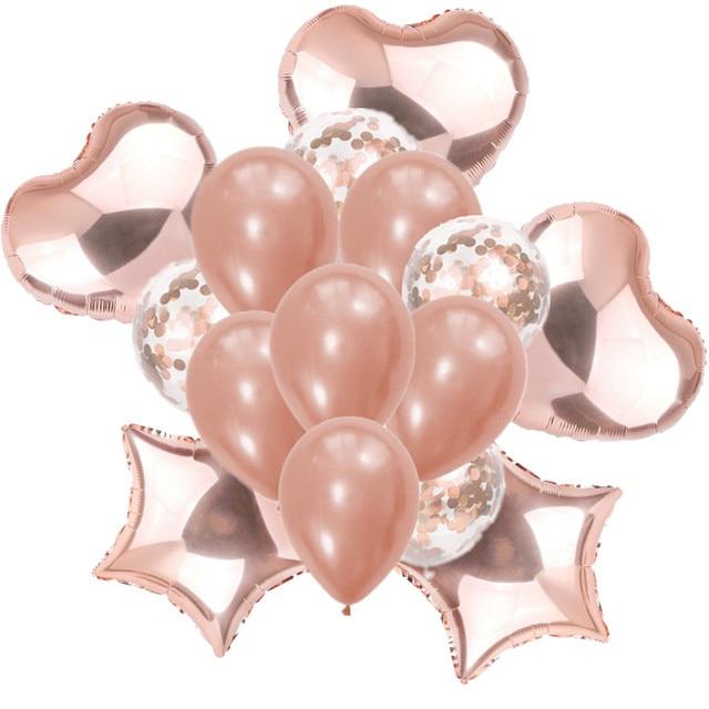 Rose Gold Star Coeur ensemble de ballon Gonflable Feuille Ballon Globos Bébé Douche bricolage Amour décoration de mariage de Fête D'anniversaire jouets pour enfants