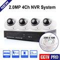 4CH NVR POE Kit Incluído H.264 Vandal-Proof Câmera IP 1080 P POE NVR E 4 Pcs Cúpula 2MP Câmera IP Sistema de Segurança de Gravação de Vídeo