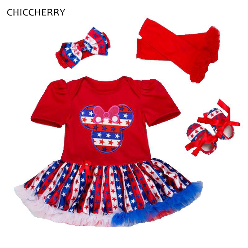 Minnie Fourth Of July Baby Girl Summer Set Lace Petti Romper Dress Headband Crib Shoes Leg Warmers Kids Clothes Infant Clothing