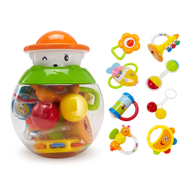 GOODWAY  8PCS/Set ABS Baby Toys Hand  Shaking Bell Rattle Toddler Music Toy for Early Learning Educational Toys