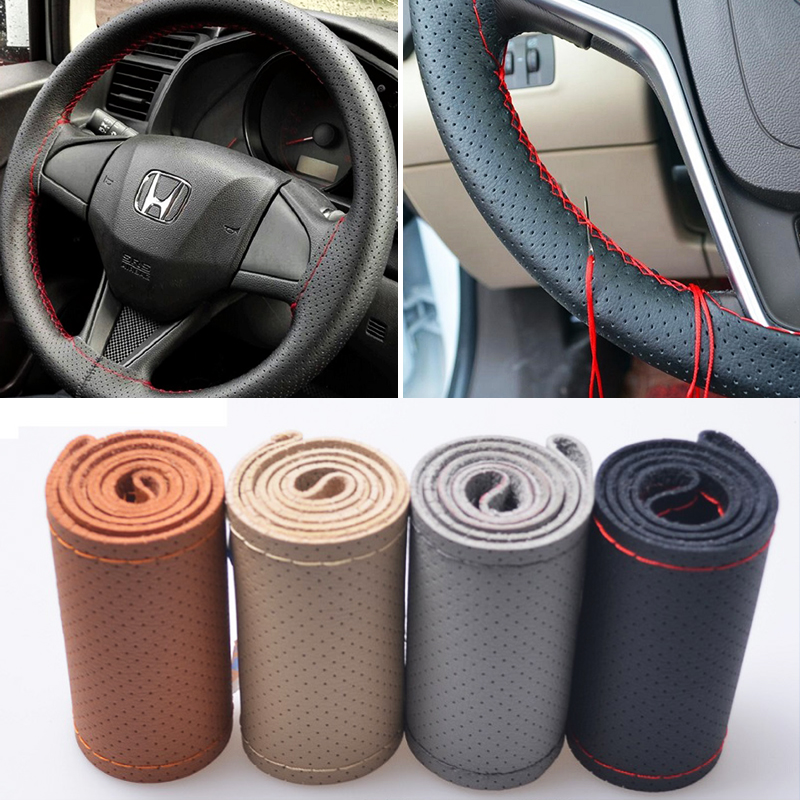 Universal 38CM Car Steering Wheel Cover Hand Sewing Genuine Leather Car Styling for Toyota Chevrolet VW Ford Nissan etc.99% Cars