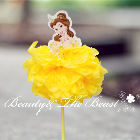 4040'' High Princess Cinderella Aurora Ariel Belle Cupcake Toppers Inspiration Belle Birthday Decorations