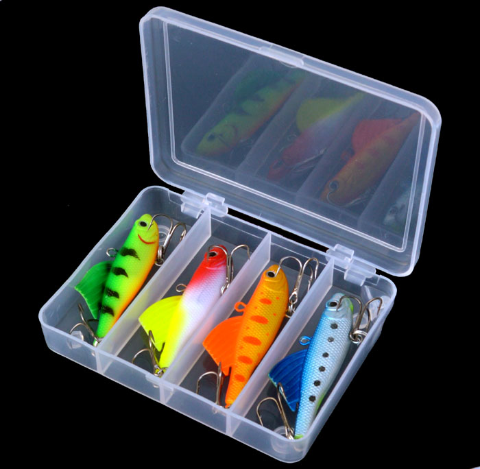 4pcs/set Soft Hard Fishing Lure Kit with Tackle Box Winter Spring Autumn Sea Vib Fishing Lures with Lead Inside Jig Sinking Bait new road ya bait 101 all round swimming gear fishing lure valuable package lures set kit soft and hard lure hooks