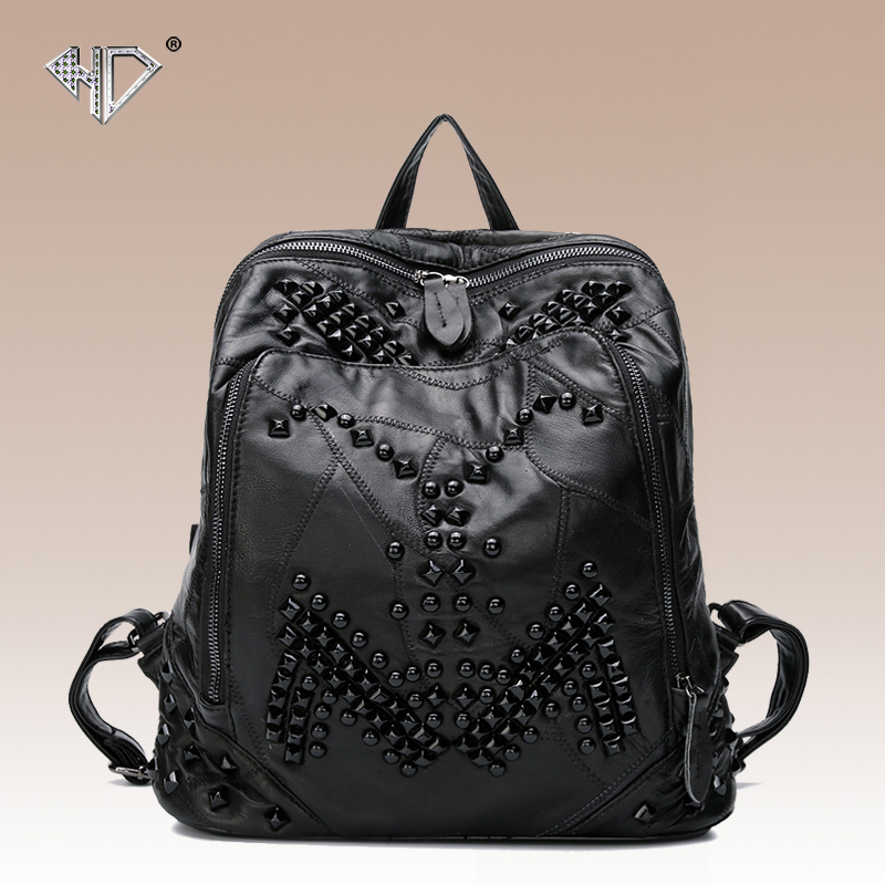 Punk style genuine leather sheepskin women's backpack fashion rivet school bag casual backpack black color