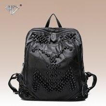 Панк-стиль натуральная кожа овчины женщин рюкзак моды заклепки мешок школы повседневная рюкзак черного цвета