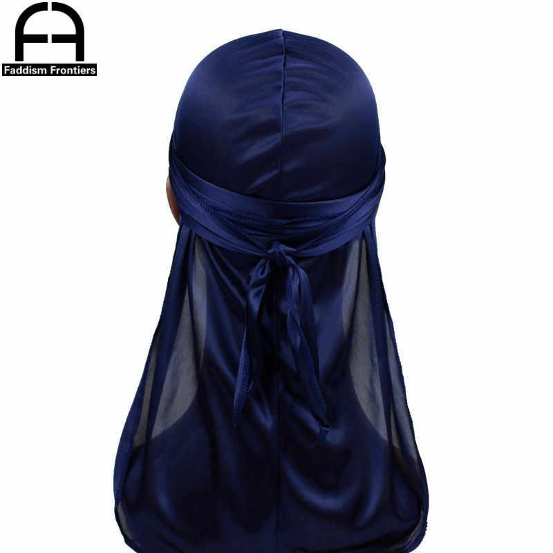 Peruca durag unissex, chapéu turbante de seda para homens e mulheres, motociclista, acessórios para cabelo, tiras de rabo longo, bandanas durags de seda