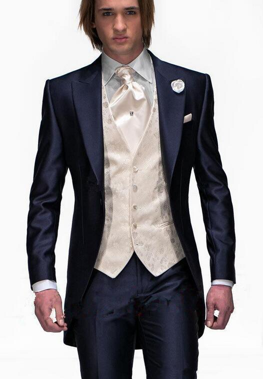 bf309dfc25d 2017 Tailcoat Morning Style Mens Wedding Suits Navy Blue Groom Tuxedos  Wedding Tuxedos Groomsmen Suit 3
