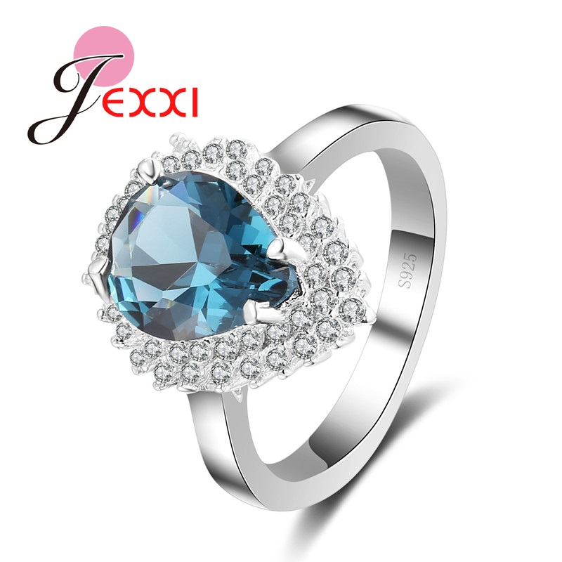 JEXXI Elegance Dark Blue Waterdrop Style Crystal Finger Rings For Women Lady Silver Rings For Anniversary Wedding