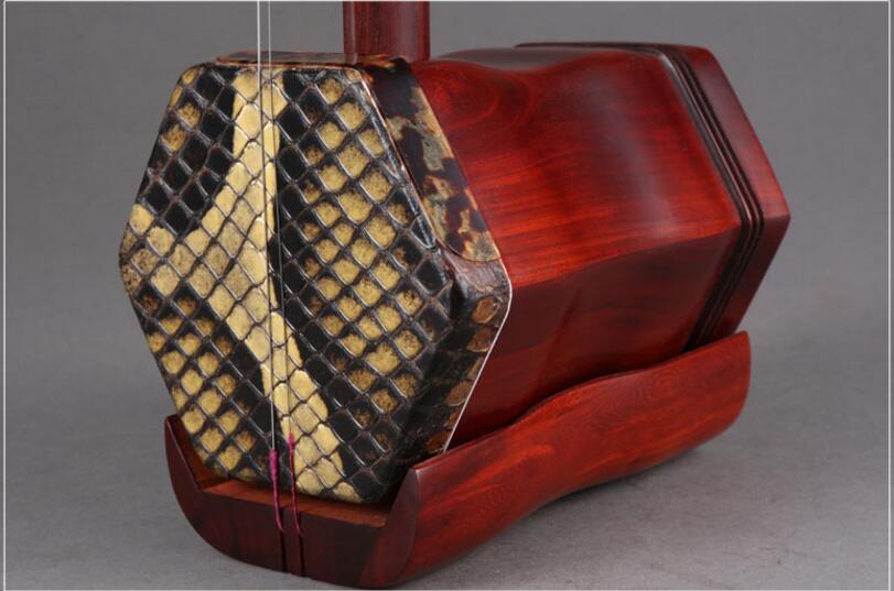 Professionnel erhu Matériel Lobulaire bois de santal rouge deux cordes erhu avec hardcase