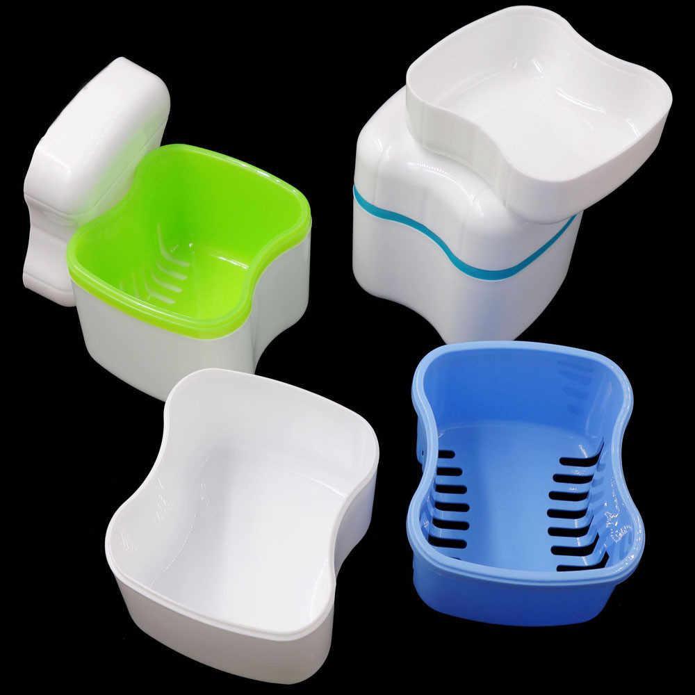 New Deal Banho De Armazenamento Caso Box Dental Dentadura Dentes Falsos Recipiente Caixa De Armazenamento Caixa de Cesta de Lavagem de Viagem Portátil