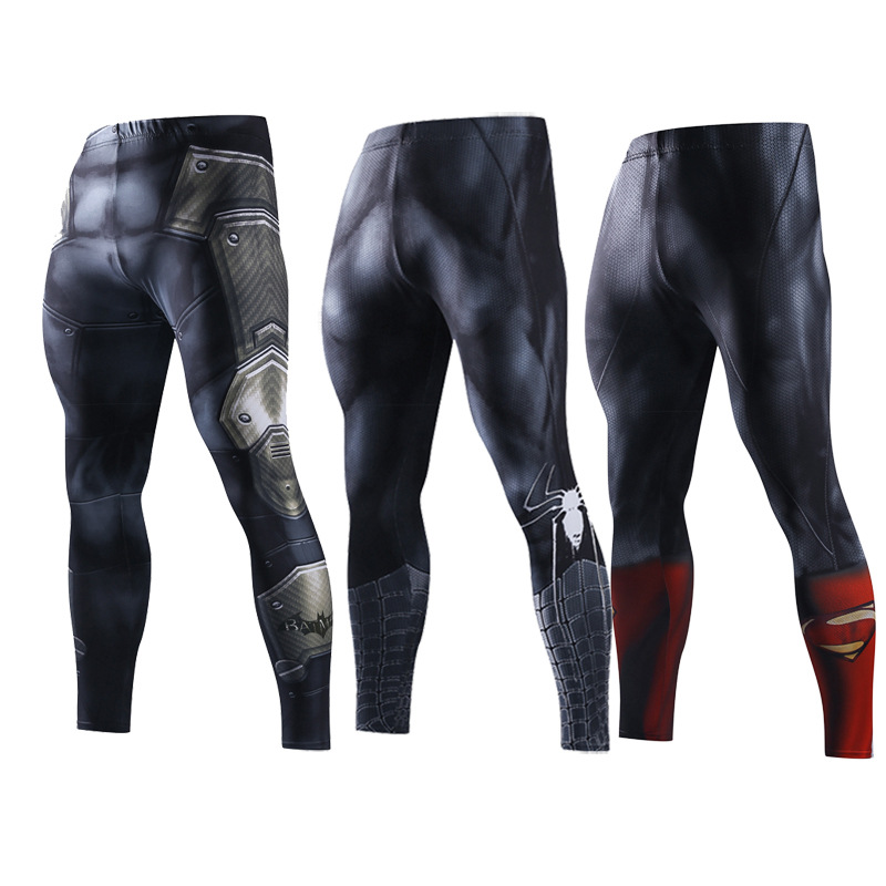 Men Skinny Sweatpants Compression Pants Men Leggings Jogger Men 3D Fitness Bodybuilding Pants Superman Elastic Trousers drawstring spliced camo jogger pants