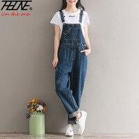 THHONE Brand Jeans Women Jumpsuit Denim Romper Overalls Casual Long Trousers Vaqueros Basic Denim Pants Wide