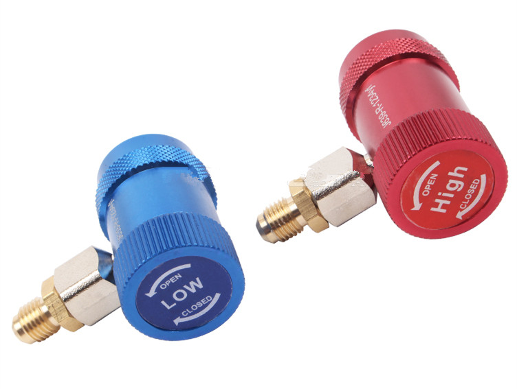 R1234yf Quick Couplers Adapters Adjustable 1/4 Male Port AC Charging Fittings High & Low Pressure Set