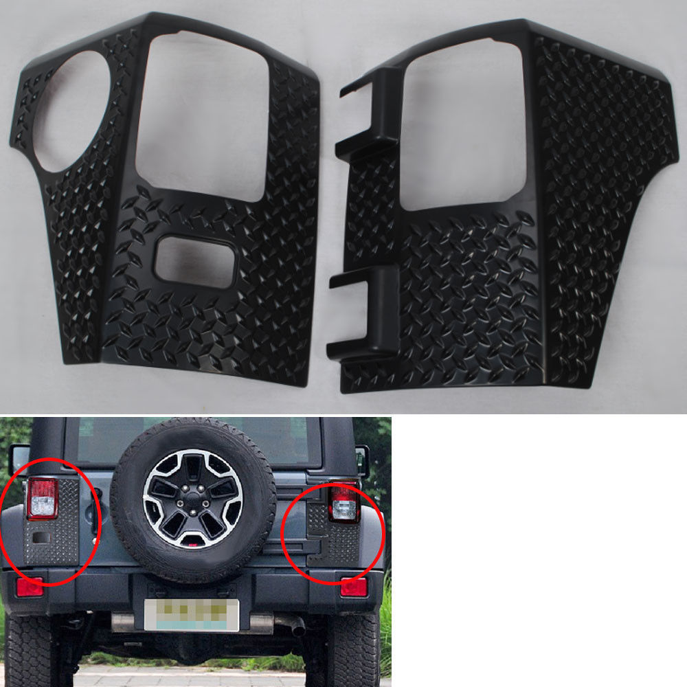 BBQ@FUKA Fit For 2007-2016 Jeep Wrangler Rear Taillight Tail light Lamp Guard ABS Cover Trim Protector Car accessory car styling top mount hardtop rear grab handle bar front rear interior parts metal for jeep wrangler 2007 later