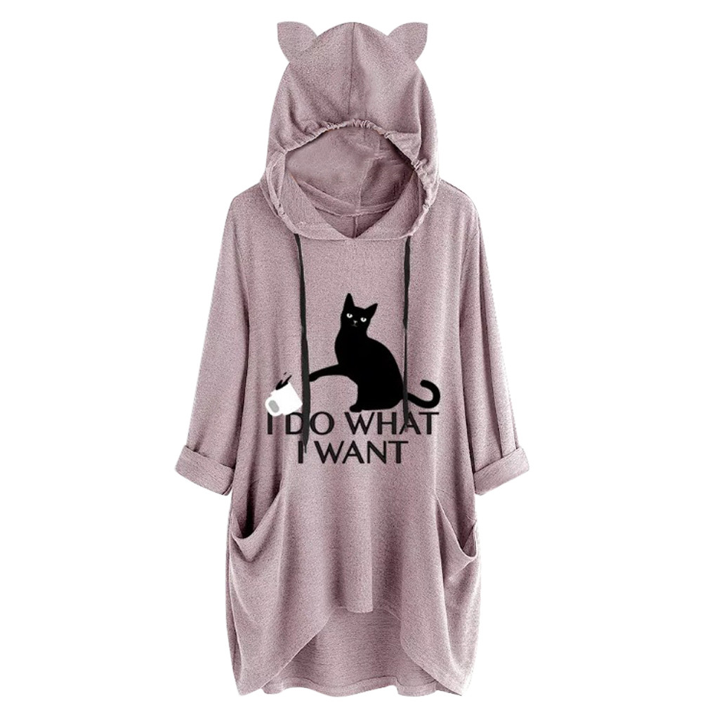 Women Casual Printed Cat Ear Hooded T-Shirt Long Sleeves Pocket Irregular fashion 26