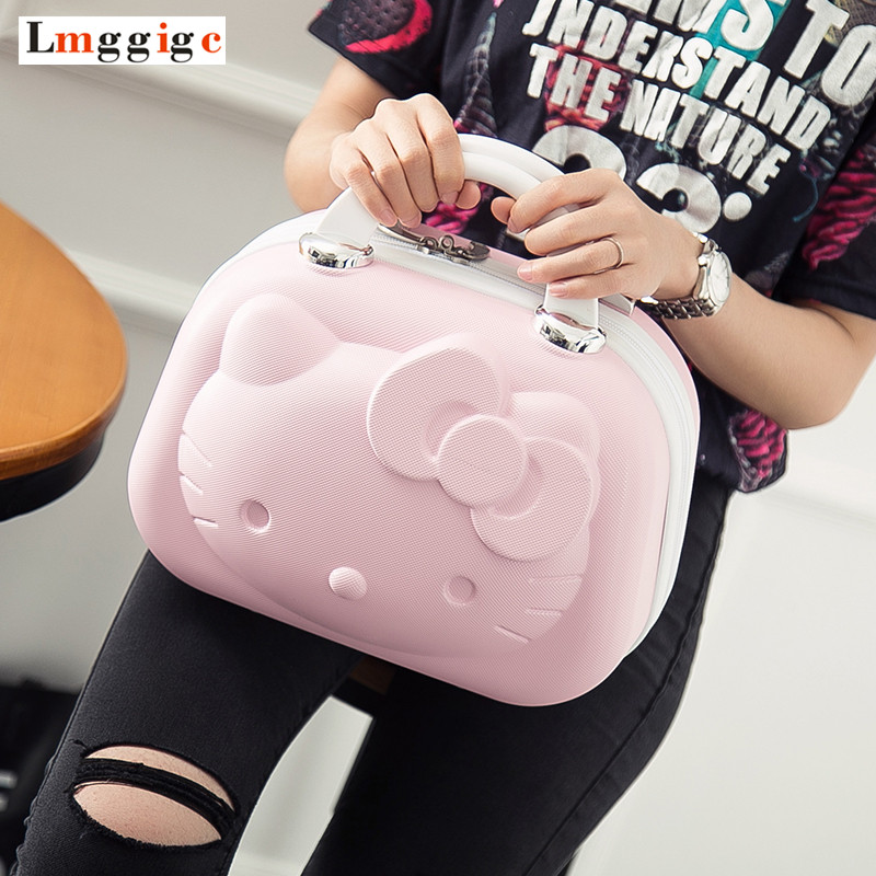 цена Hello Kitty Cosmetic Bag Cartoon Travel Suitcase Portable Women Handbag Lovely Cosmetic Case makeup box Children's gift