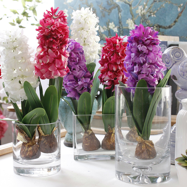 Artificial Flower Hyacinth with Bulbs Ceramics Silk Flower Simulation Leaf Wedding Garden Decor Home Table Accessorie Plant 10pc